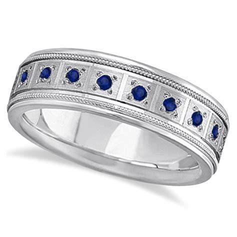 Blue Sapphire Ring for Men Wedding Band 18k White Gold 0
