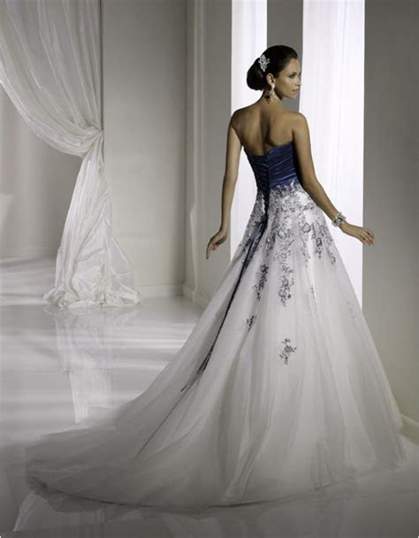 midnight blue wedding dress      blue and white wedding