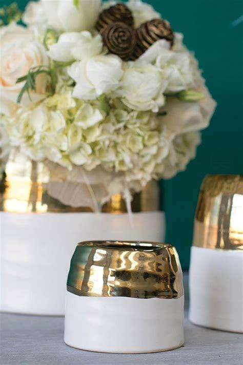 White & Gold Ceramic Claire Votive Holder and Vase