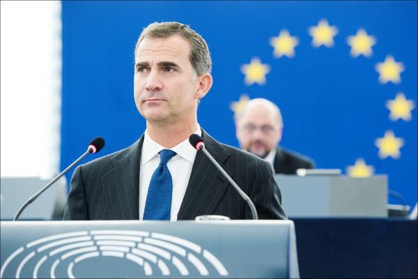 Felipe VI, ante el pleno del Parlamento Europeo.