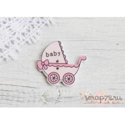 Деревянные пуговицы Детская коляска, светло-розовый, 32*34мм, 1шт