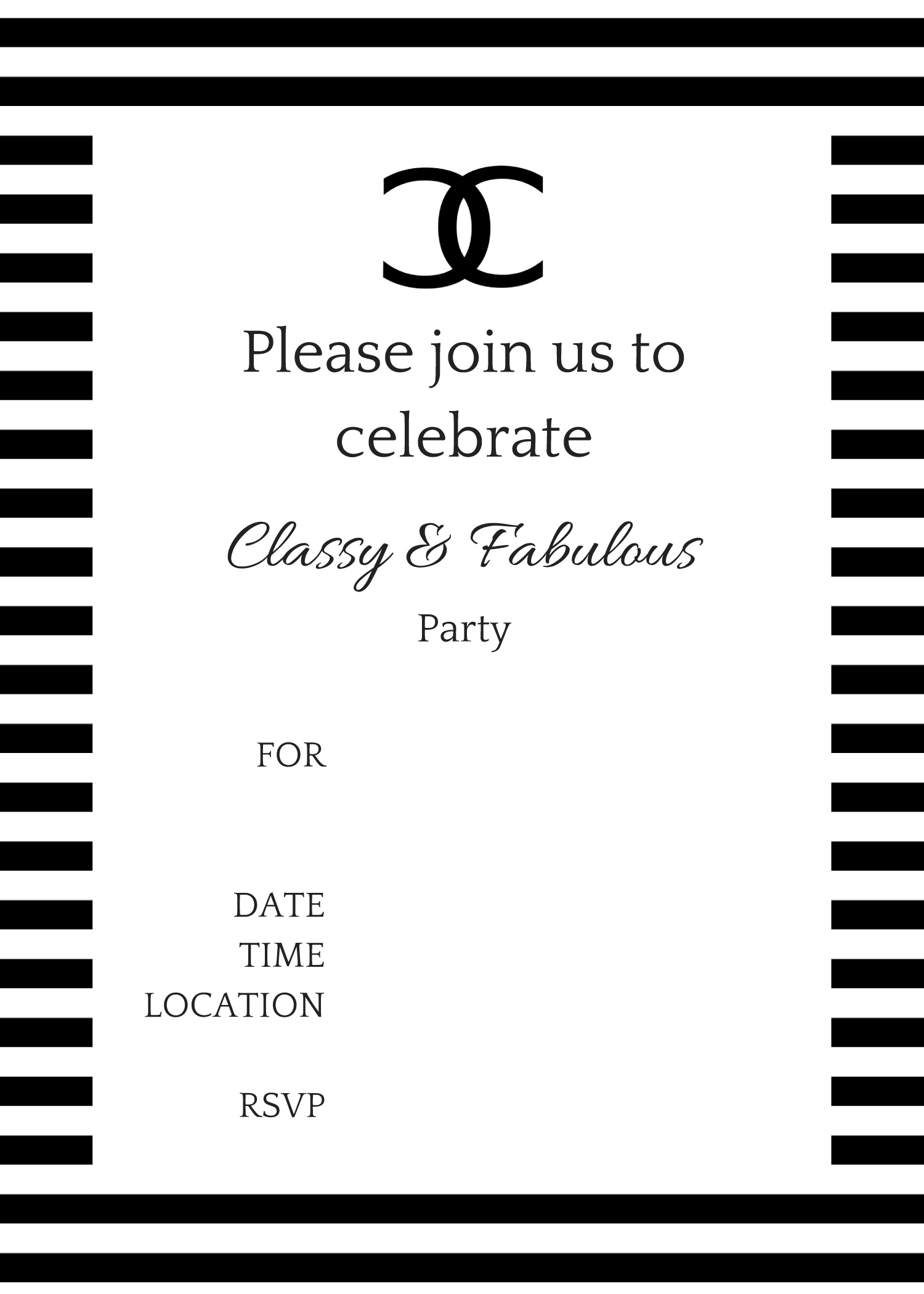 FREE Printable COCO Chanel Party Invitations style 1