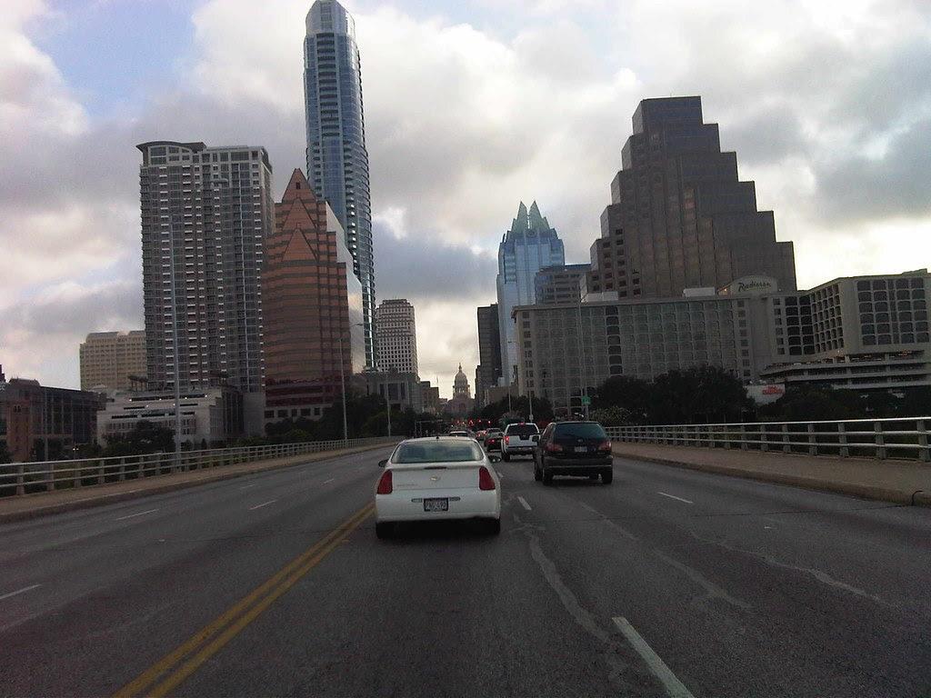 Austin through the windshield