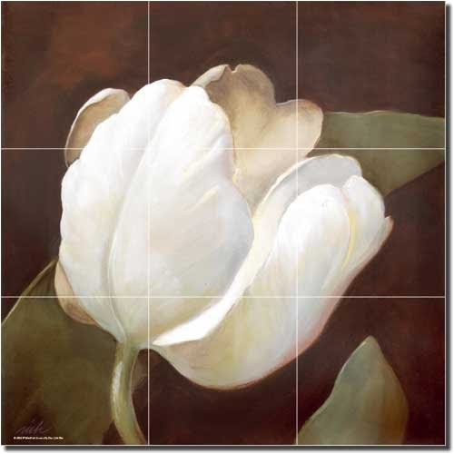 White Tulip By Wilder Rich Flower Floral Ceramic Tile Mural 18 X 18