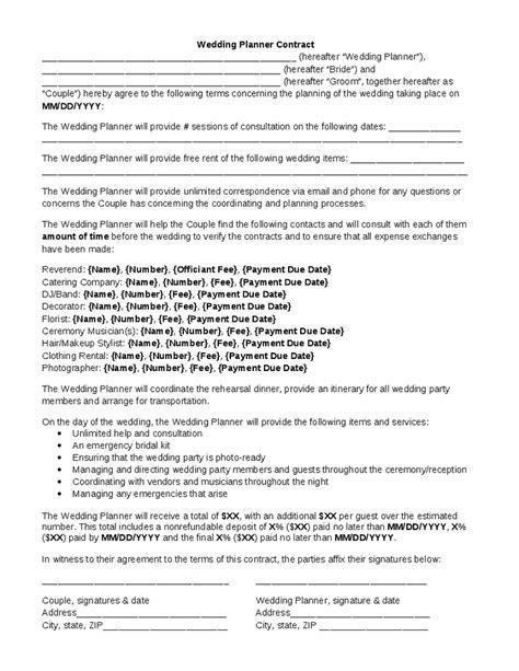 Wedding Planner Contract   Wedding Planner Contract