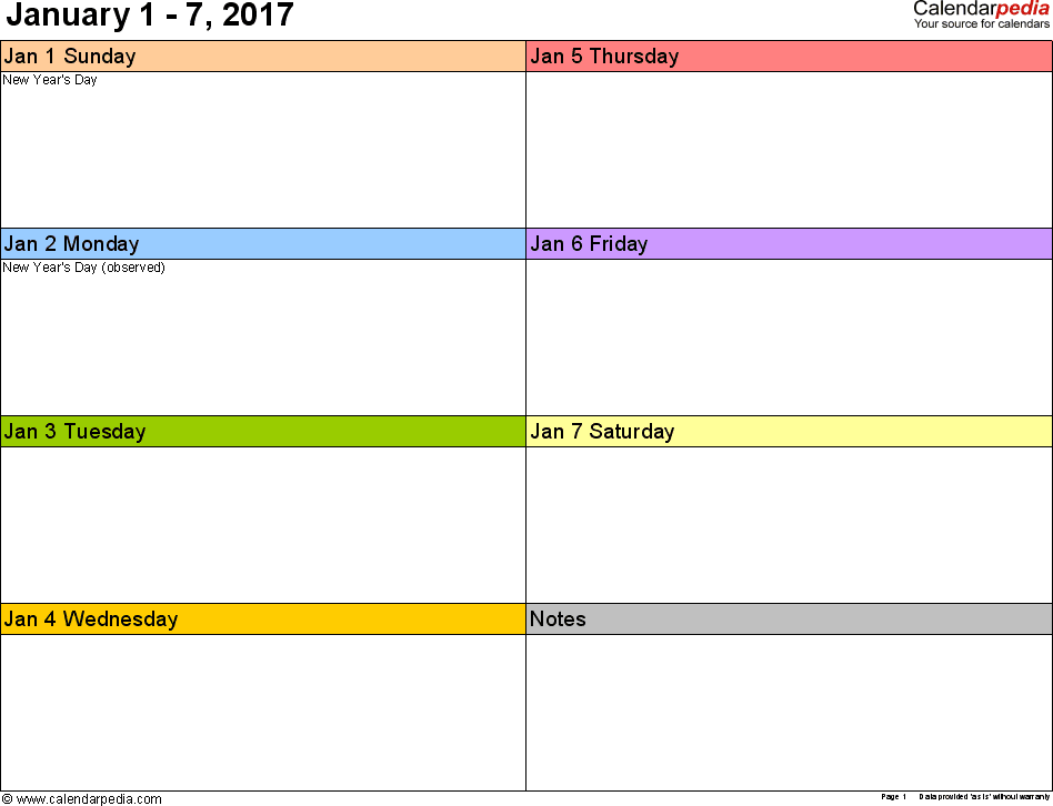 Weekly calendar 2017 for Word - 12 free printable templates