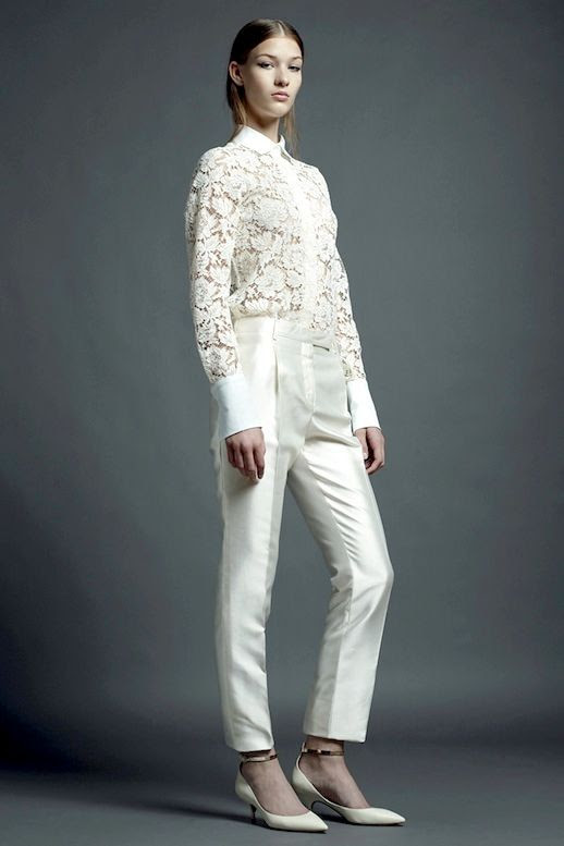 20 Alternative Wedding Looks Valentino Resort 2013 Lace Button Down Shirt Pants Kitten Heels Non-Traditional Bride photo 17-20-Alternative-Wedding-Looks-Valentino-Resort-2013-Lace-Button-Down-Shirt-Pants-Kitten-Heels.jpg