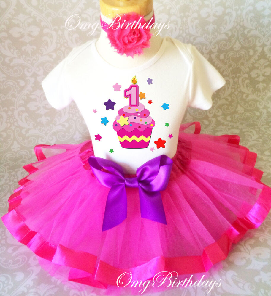 cupcake rainbow star hot pink baby girl 1st first birthday