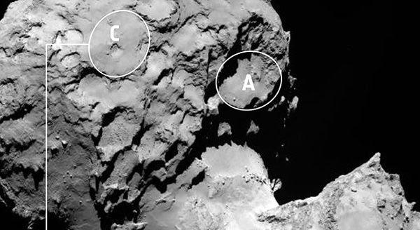 An image showing the backup landing site (Site C) for the Rosetta spacecraft's Philae lander, on comet 67P/Churyumov-Gerasimenko.