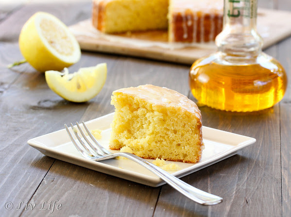 Lemon Cake slice with Cirus Olive Oil Bottle