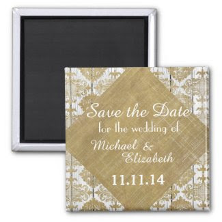 Save the Date Vintage Gold Damask and Wood Refrigerator Magnet
