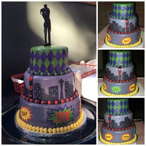 Joker and Harley Quinn themed wedding cake, complete with