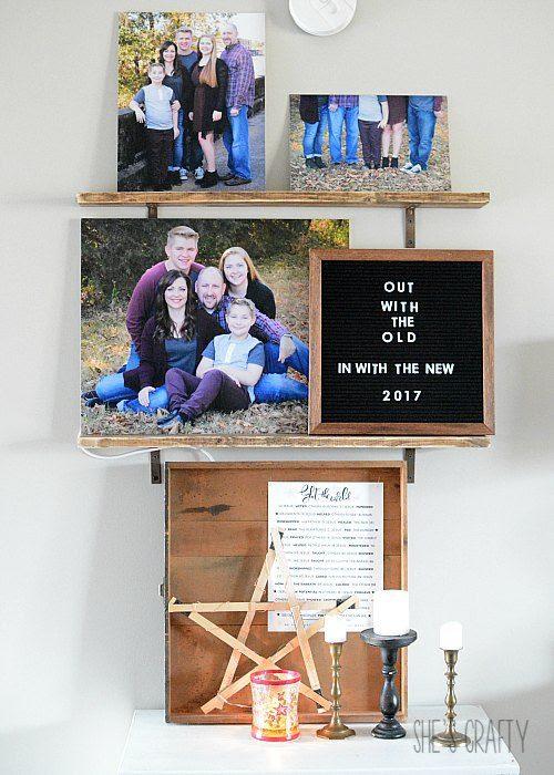 open shelves, picture shelves, letter board