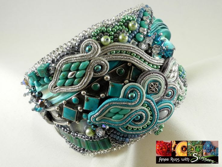 "The ""Trifecta Cuff"" incorporates bead-embroidery, soutache & shibori techniques and was born of a client's wish to incorporate a cherished piece of an old silver and turquoise bracelet."