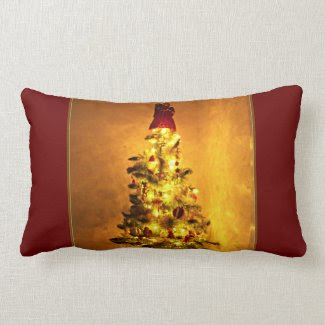 Vintage Burgundy and Gold Christmas Tree Pillow