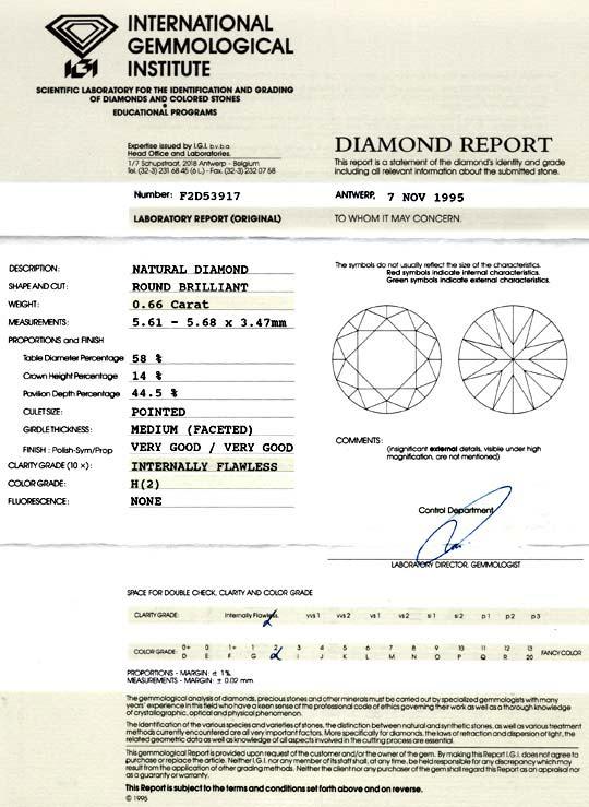 Foto 9, Diamant 0,66ct Brillant IGI Lupenrein Wesselton, Juwel!, D5792