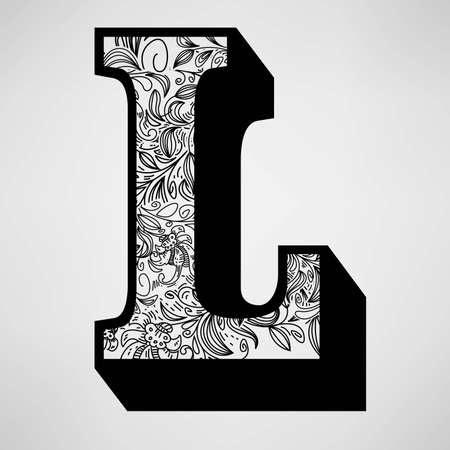 Letra L - Ornamental Initial Foto de archivo - 16555306