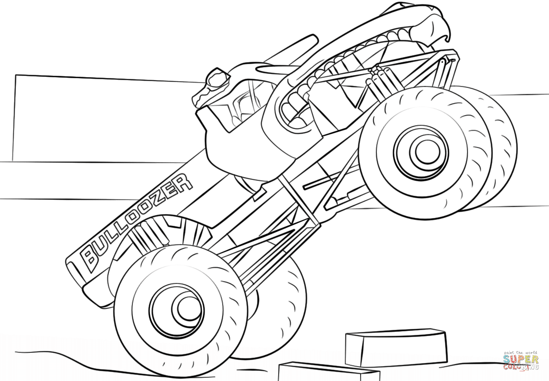 Ausmalbild Bulldozer Monster Truck Ausmalbilder Kostenlos Zum Ausdrucken