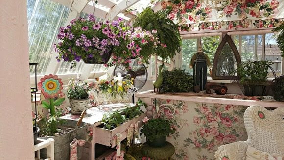 new decor in the greenhouse penny's treasures