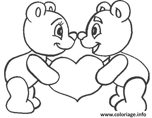 Coloriage Coeur Nounours Jecoloriecom