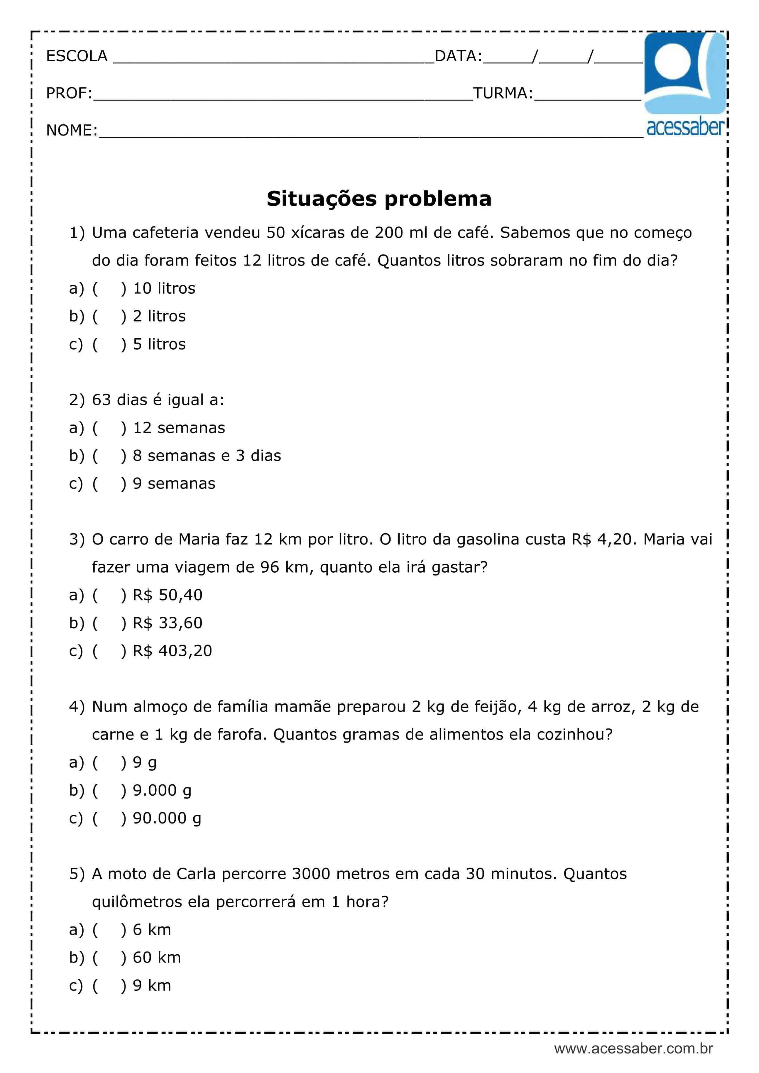 Atividade De Matematica Situacoes Problema 5º Ou 6º Ano Acessaber
