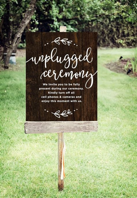 Unplugged Wedding Sign   Printable Unplugged Ceremony Sign