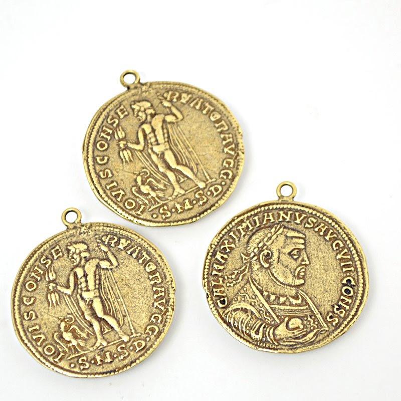 s48970 Metal Charm/Pendant - 33 mm Roman Coin - Maximian - Antiqued Brass