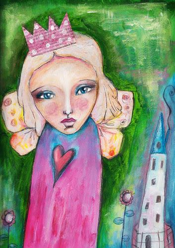 girl flower heart house