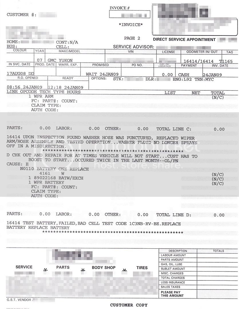 GMC Yukon XL Denali invoice 2/4
