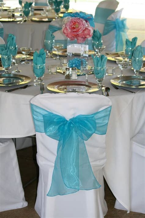 wedding reception ideas for tables in pink and torqouise