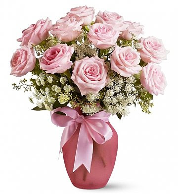 Pink Dozen Roses And Lace Roses A Soft Shaded Bouquet Of Beauty