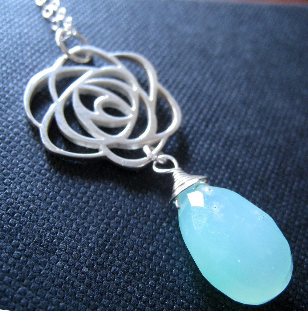 Rosemint-sterling silver rose pendant necklace