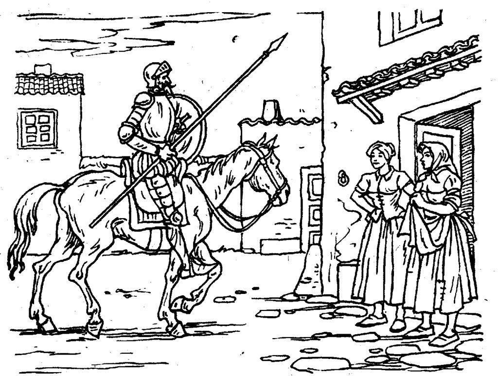 Don Quijote llega a la venta que cree castillo