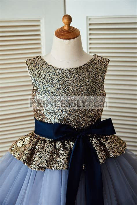 Gold Sequin Blue Cupcake Tulle Flower Girl Dress with Navy