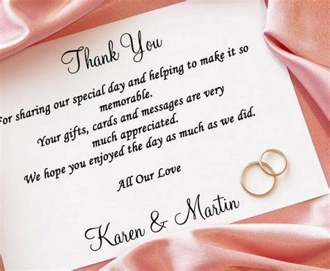 Thank You Card Wedding Wording Cash Gift   Lamoureph Blog