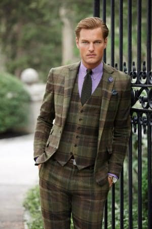 Ralph Lauren Three Piece Plaid Suit in Green with Purple Shirt