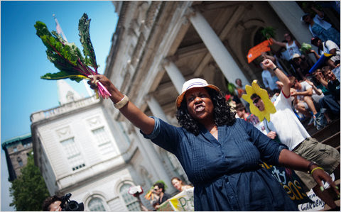 A chard-wielding community gardener, Yonette Fleming, protests proposed city gardening rules outside City Hall.