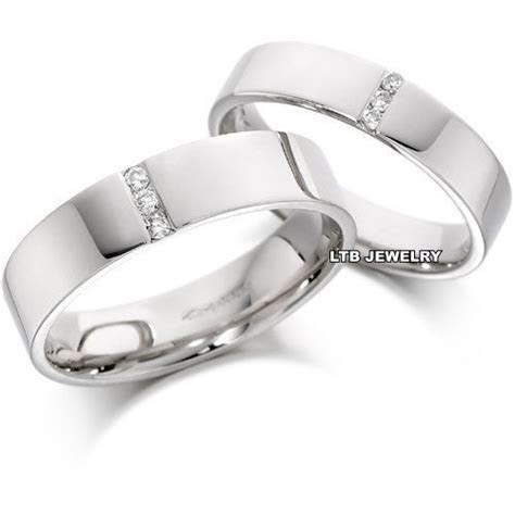 10K WHITE GOLD MATCHING HIS & HERS WEDDING BANDS RINGS