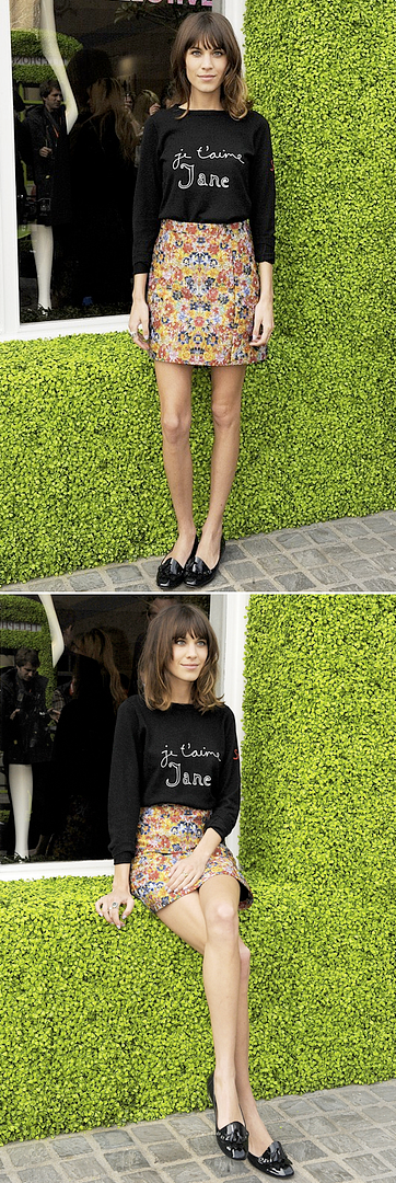 ALEXA CHUNG JTAIME CELINE FLORAL SKIRT RESORT 2012 JANE GAINSBOURG LONG SLEEVE TEE TSHIRT PATENT LOAFERS TASSELS BICESTER VILLAGE BRITISH DESIGNERS COLLECTIVE LAUNCH, my daily    vogue uk