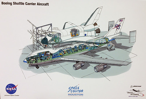Mockup of Shuttle Carrier Aircraft exhibit to be built at Space Center Houston by The Boeing Company