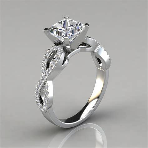 Infinity Design Princess Cut Engagement Ring   PureGemsJewels