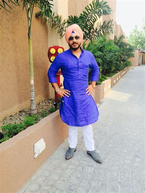 blue kurta pajama punjabi turban sikh stylish handsome men