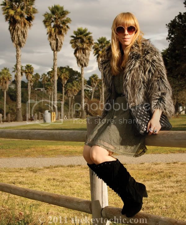 shaggy faux fur jacket, Forever 21 lace dress, Report Enid fringe boots, L.A. fashion blogger