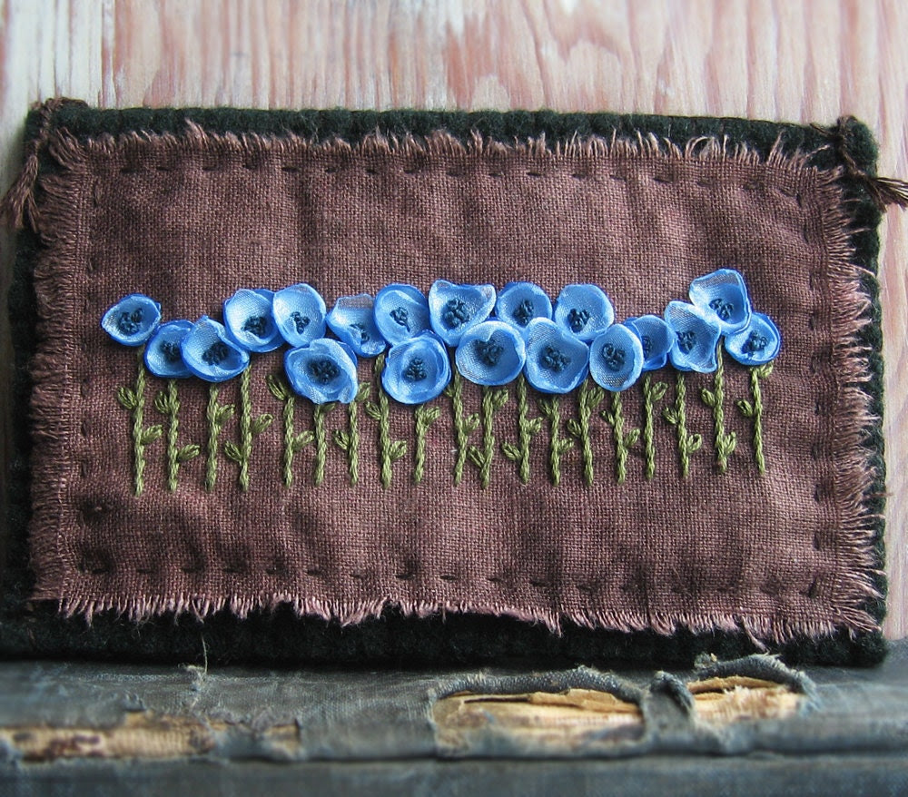 Blue Flowers on Brown / Fiber Art Hand Embroidered Wall Hanging