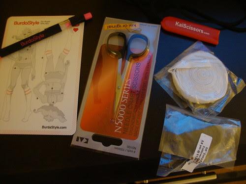 Kai scissors; some fun elastic, BurdaStyle free gift