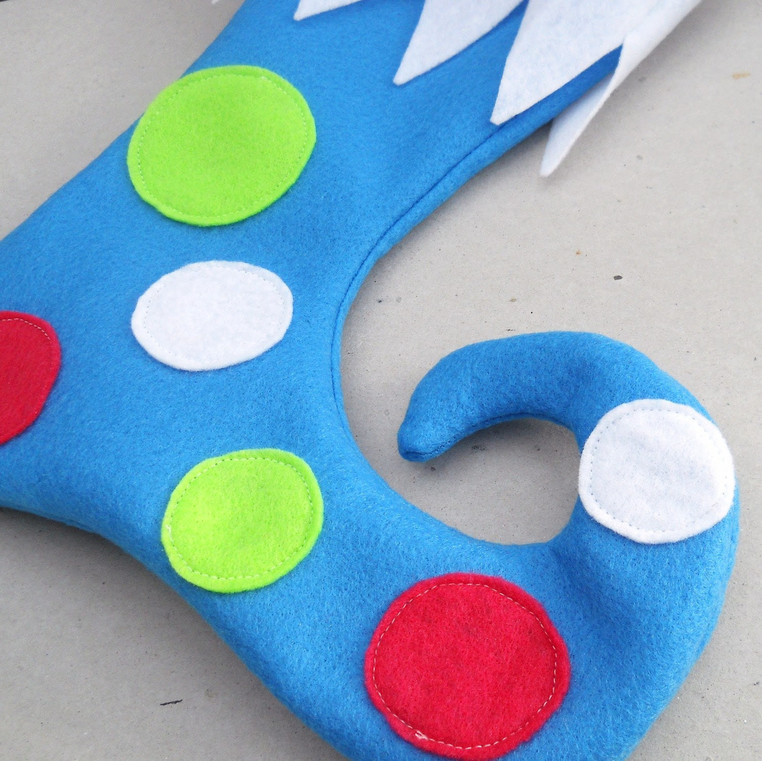 Winter Blue Elf Stocking with Pink and Green Polka Dots