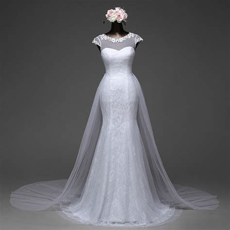 Beautiful Mermaid Wedding Gown With Detachable Skirt