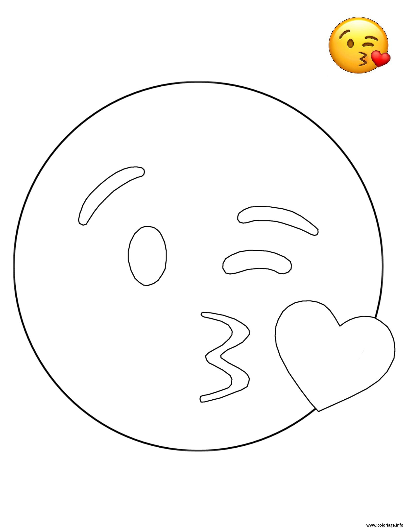 Coloriage Emoji Kissing Smiley Jecoloriecom