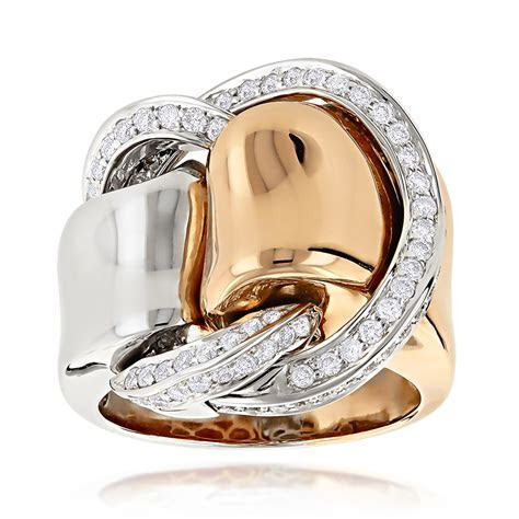 Designer Cocktail Rings: Two Tone Unique Diamond Ring for