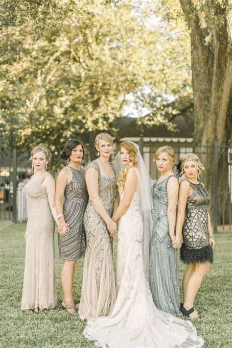 Art Deco Neutral Mismatched Bridesmaid Dresses with